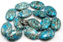 Mosaic stone, flat oval, turquoise - white, 30x20mm